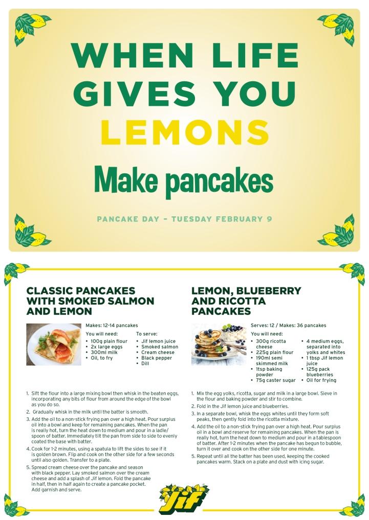 Jif Lemon Pancake Day Recipes