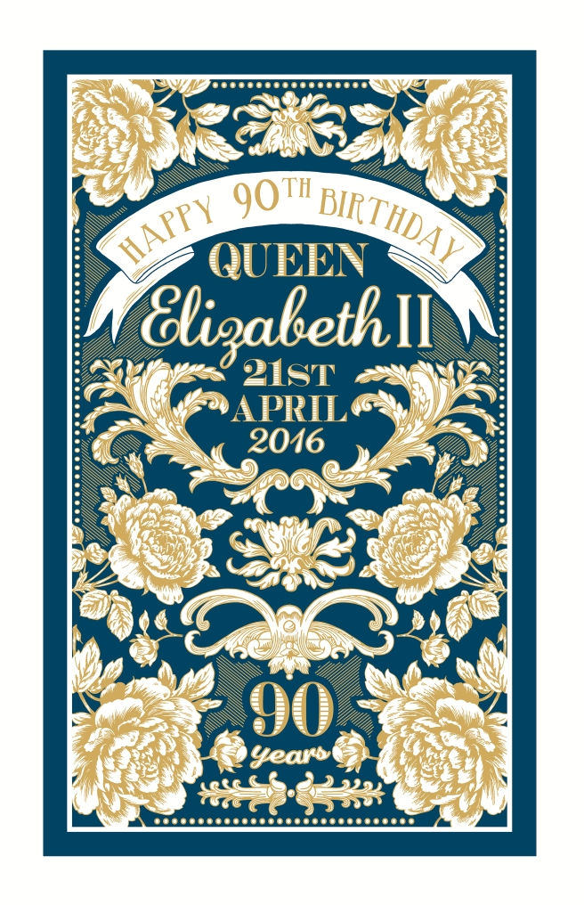 Queen Elizabeth's 90th birthday tea towel